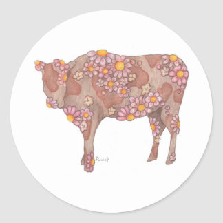 Rosy Cow Classic Round Sticker