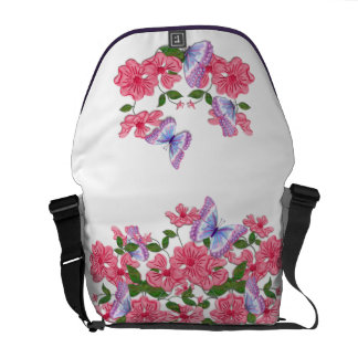 Rosy Floral and Butterflies Messenger Bag