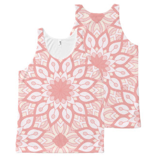 Rosy floral mandala geometric pattern All-Over-Print tank top