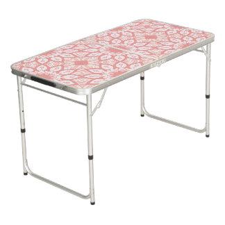 Rosy floral mandala geometric pattern beer pong table