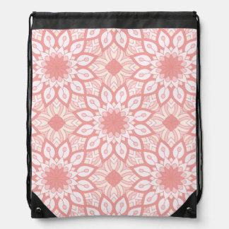 Rosy floral mandala geometric pattern drawstring bag