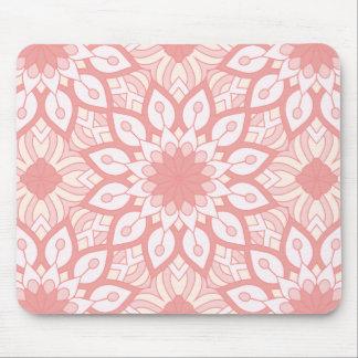 Rosy floral mandala geometric pattern mouse pad