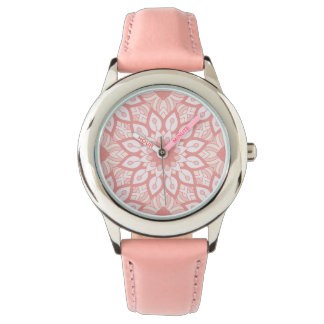 Rosy floral mandala geometric pattern wristwatch