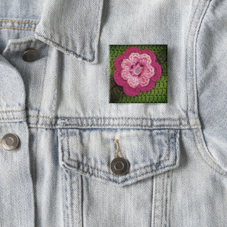 Rosy Flower Green Crochet Print on Badge 2 Inch Square Button
