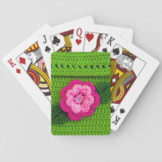 Rosy Hot Pink Flower Cool Spring Green Crochet Playing Cards