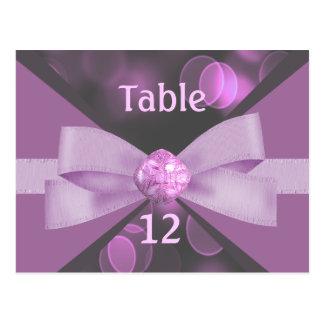 Rosy Pink Bokeh Lights, Ribbon & Bow Wedding Postcard
