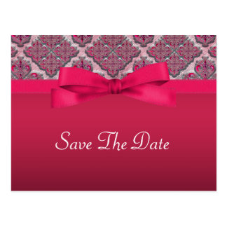Rosy Red Embossed Damask Wedding Shimmer Postcard