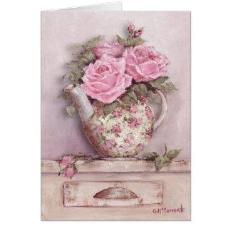 Rosy Tea Pot Greeting Cards