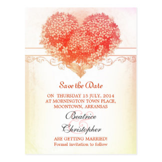 rosy vintage heart save the date postcards