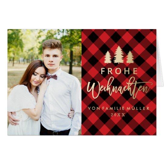 Rot Kariert | Weihnachtskarte Card