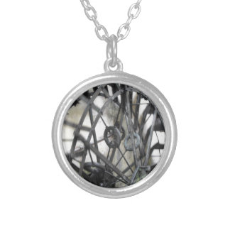 Rotary motion of the water wheel in a watermill silver plated necklace