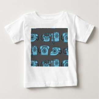 Rotary Phone - Charcoal/Soft Blue / Andrea Lauren Baby T-Shirt
