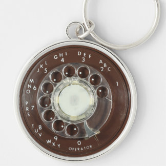 Rotary Phone Look Silver-Colored Round Keychain