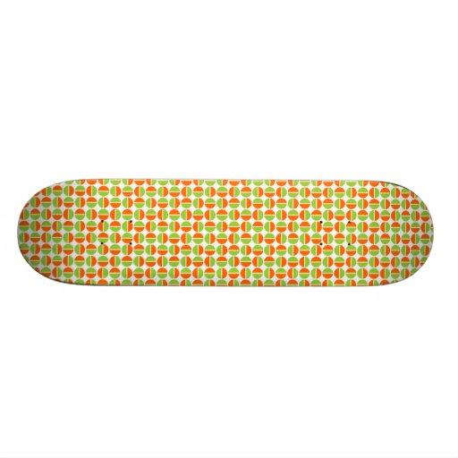 Rotating Circles - Green and Orange Custom Skate Board