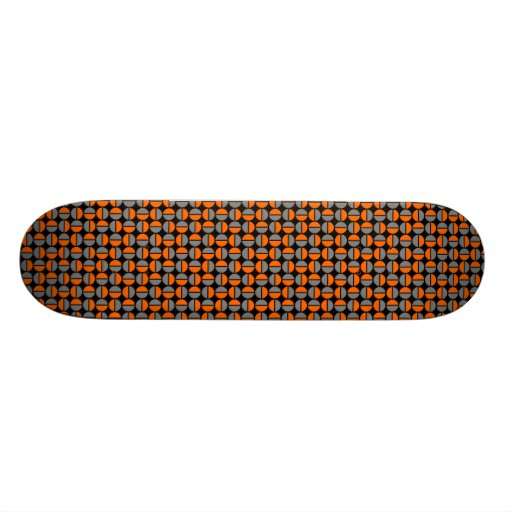 Rotating Circles - Orange and Gray on Black Skateboard Deck