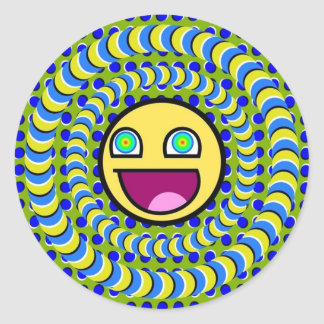 Rotating Rings Optical Illusion Classic Round Sticker