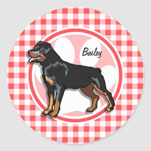 Rott; Red and White Gingham Round Stickers