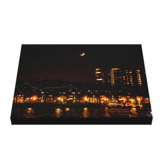 Rotterdam Harbor at night Landscape Single Canvas