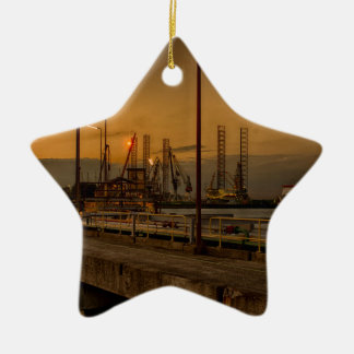 Rotterdam harbor by night ceramic ornament