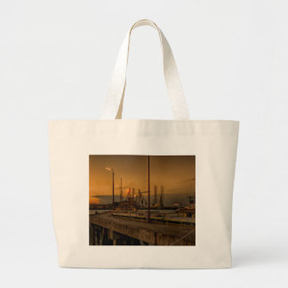 Rotterdam harbor by night large tote bag