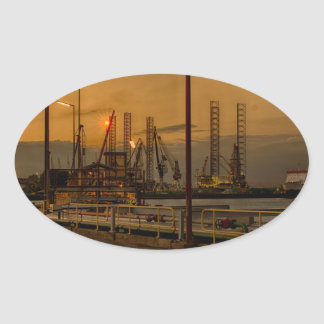 Rotterdam harbor by night oval sticker