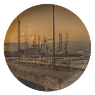 Rotterdam harbor by night plate