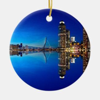 Rotterdam Night Skyline Ceramic Ornament