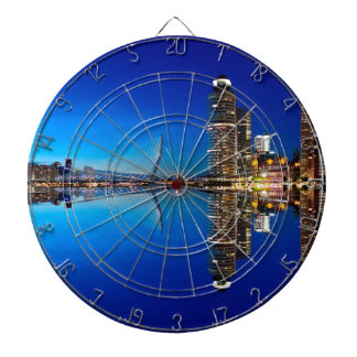Rotterdam Night Skyline Dartboard