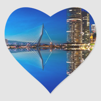 Rotterdam Night Skyline Heart Sticker