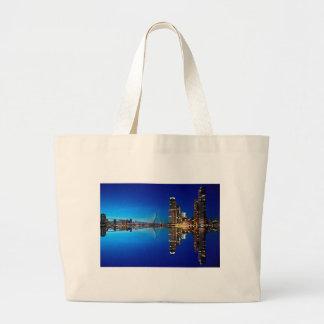 Rotterdam Night Skyline Large Tote Bag