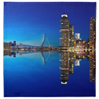 Rotterdam Night Skyline Napkin