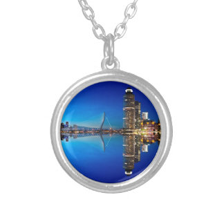 Rotterdam Night Skyline Silver Plated Necklace