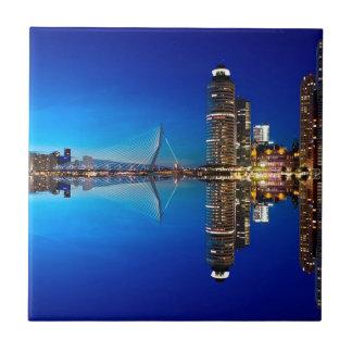 Rotterdam Night Skyline Tile