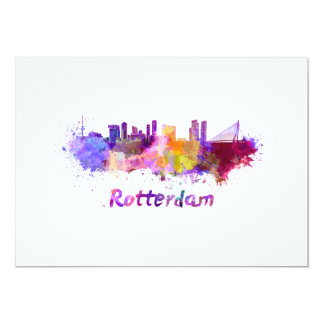 Rotterdam skyline in watercolor card