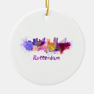 Rotterdam skyline in watercolor round ceramic ornament