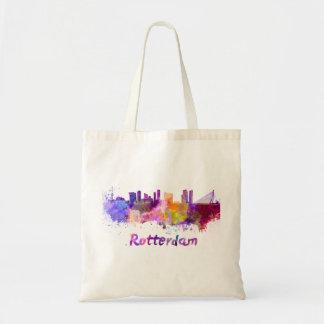 Rotterdam skyline in watercolor tote bag