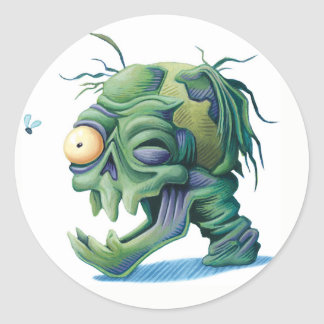 Rotting Zombie Head Monster Creature Sticker