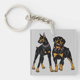 rottweiler and doberman keychain