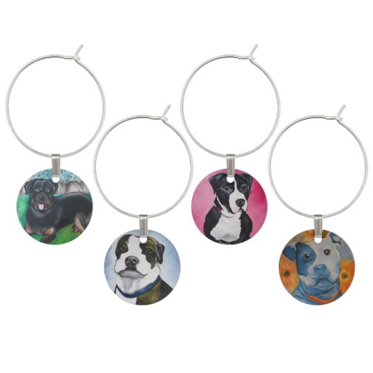 Rottweiler and Pitbull Portraits Wine Charm