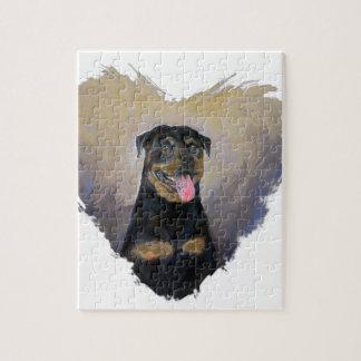 Rottweiler Art, I love Rotties Impressionist Jigsaw Puzzle