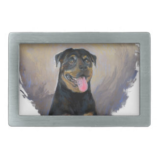 Rottweiler Art, I love Rotties Impressionist Rectangular Belt Buckle