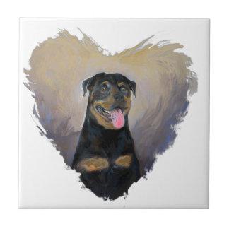 Rottweiler Art, I love Rotties Impressionist Tile
