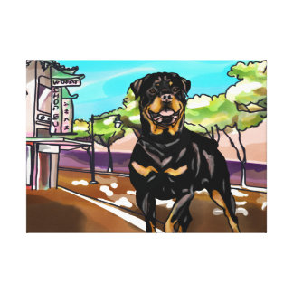 Rottweiler at Oahu China Town Canvas Print