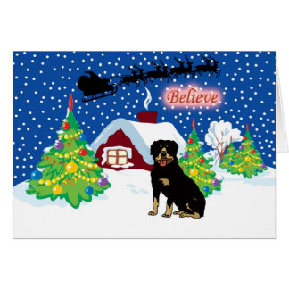 Rottweiler Believe In Santa Christmas Card