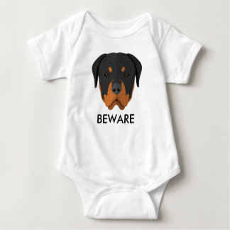 Rottweiler Beware Baby Bodysuit