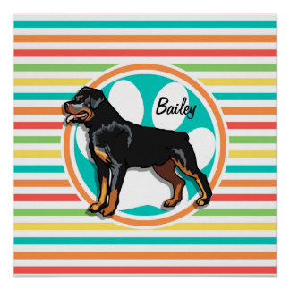 Rottweiler Bright Rainbow Stripes Posters