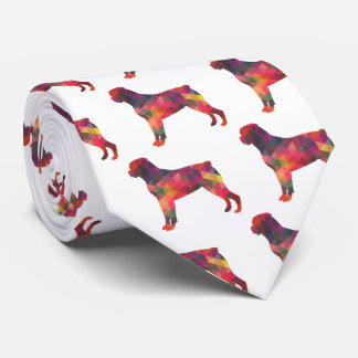 Rottweiler Colorful Geometric Pattern Silhouette Tie