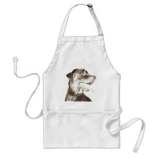 Rottweiler dessinant le tablier canin de portrait