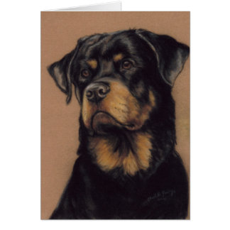 """Rottweiler"" Dog Art Blank Notecard"
