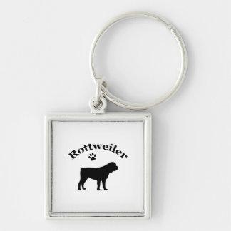 Rottweiler dog black silhouette paw print keychain